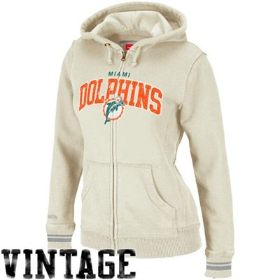 Mitchell & Ness Miami Dolphins Ladies Arch Rivals Hoodie - Cream