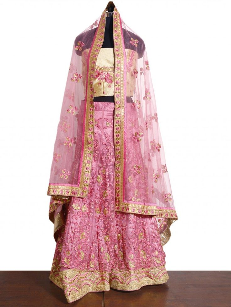 Pink Net Lehenga Choli with Resham Work