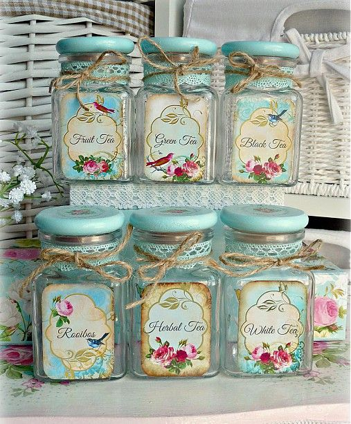 Pretty vintage style tea containers for your loose teas. http://www.sashe.sk/Alice-in-wonderland/detail/shabby-tea-time