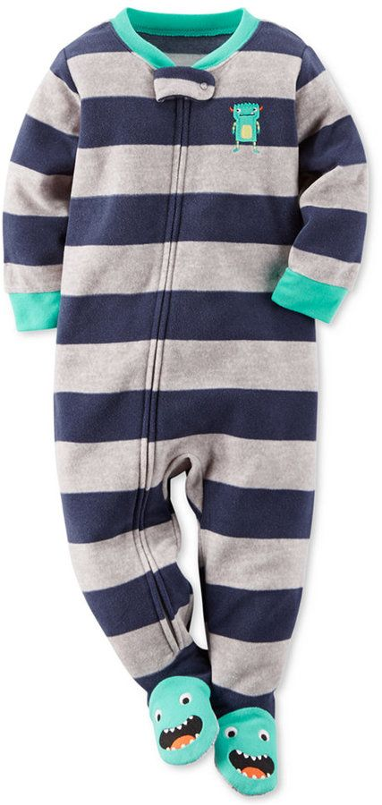 carter 39 s baby boys 39 one piece stripe monster footed pajamas little boys pinterest carters. Black Bedroom Furniture Sets. Home Design Ideas