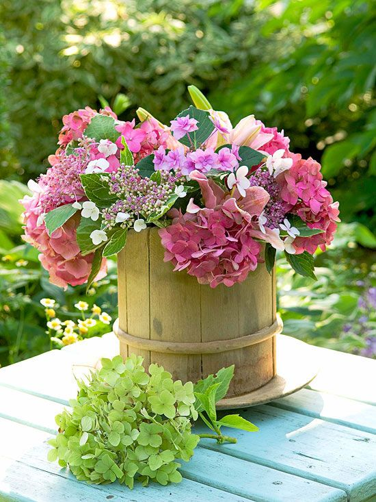 This perky pink-on-pink combination features the bold talents of two rosy hydrangeas: ball-like 'Cityline Berlin' and lacecap 'Shamrock'. A pink Oriental lily gives the bouquet additional texture and a stunning fragrance./