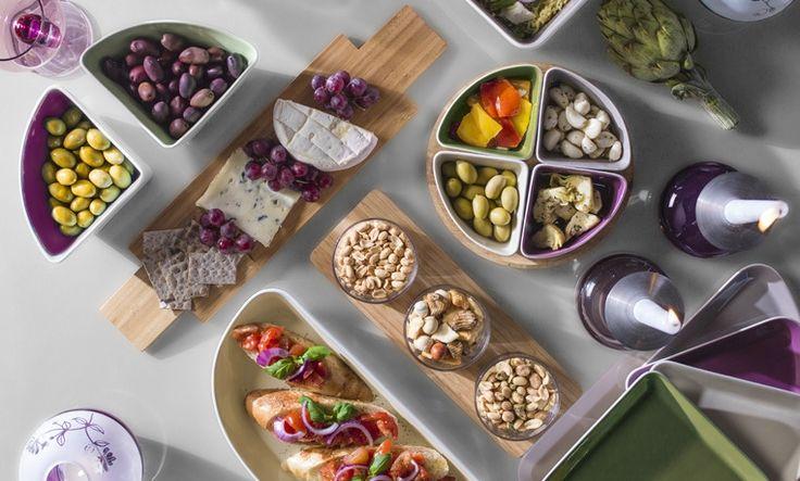 Sagaform Taste - cztery miski i deska | BelloDecor przystawki na imprezę