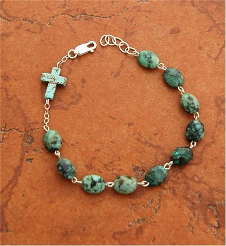 Sterling+Silver+and+Turquoise+Nugget+Rosary+Bracelet