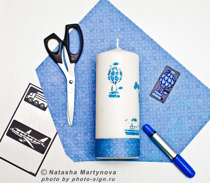 decor candle, blue, travel