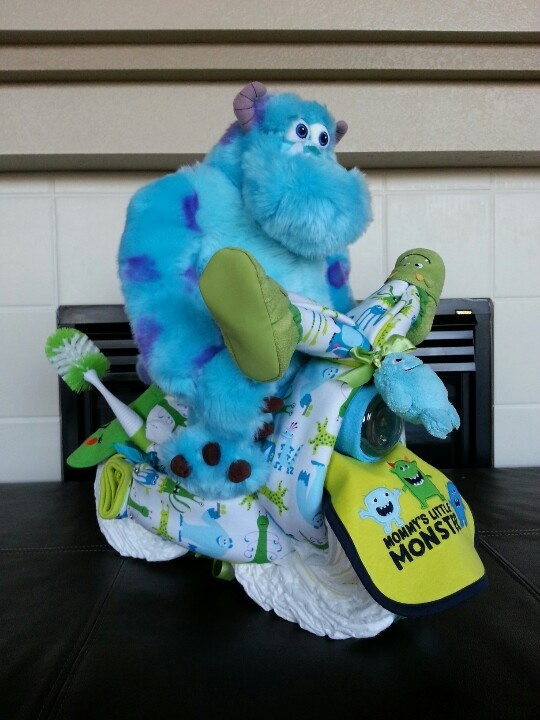 Monsters Inc motorcycle diaper cake I made!!