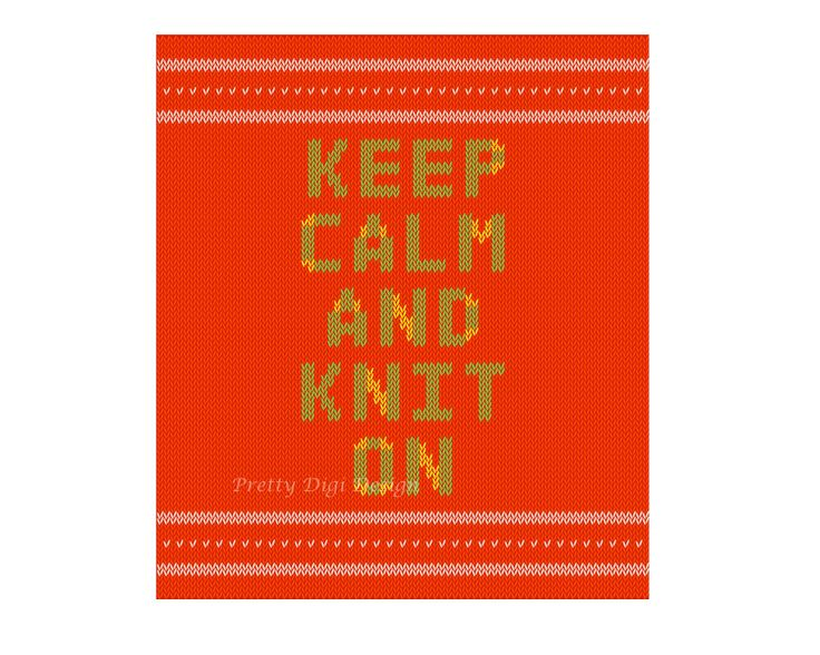 Printable Keep calm and knit on card, Ready to print illustration for knitters, crochet, craft club, knitting club, Keep calm card, Hobby - pinned by pin4etsy.com