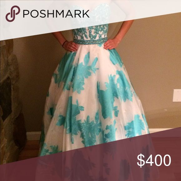 Mori Lee prom dress Blue embroidered and beaded top with white bottom with floral prints Mori Lee Dresses Prom