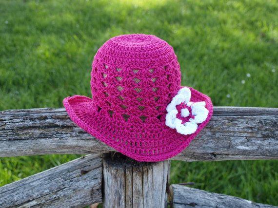 Girls crochet fucshia summer hat cotton  hat by elenis4you on Etsy, $22.00