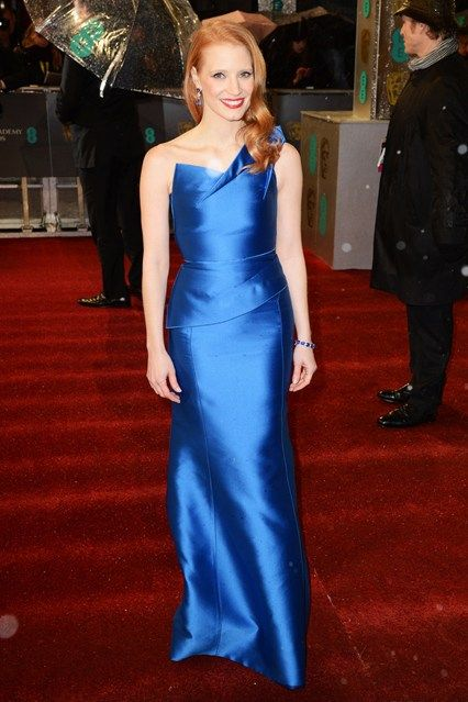 BAFTAs 2013: Jessica Chastain in Roland Mouret and Harry Winston jewellery