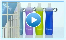 Brita makes water bottles that filter tap water--no buying water in wimpy plastic bottles needed any more.