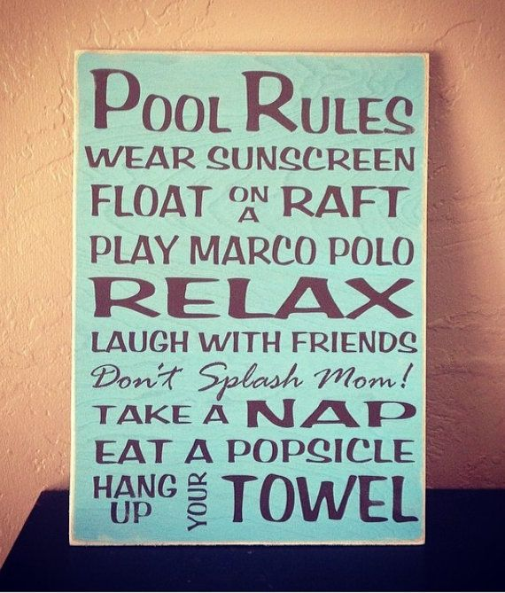 Pool Rules Sign Vinyl Lettering Sign by MunsSigns on Etsy, $17.95