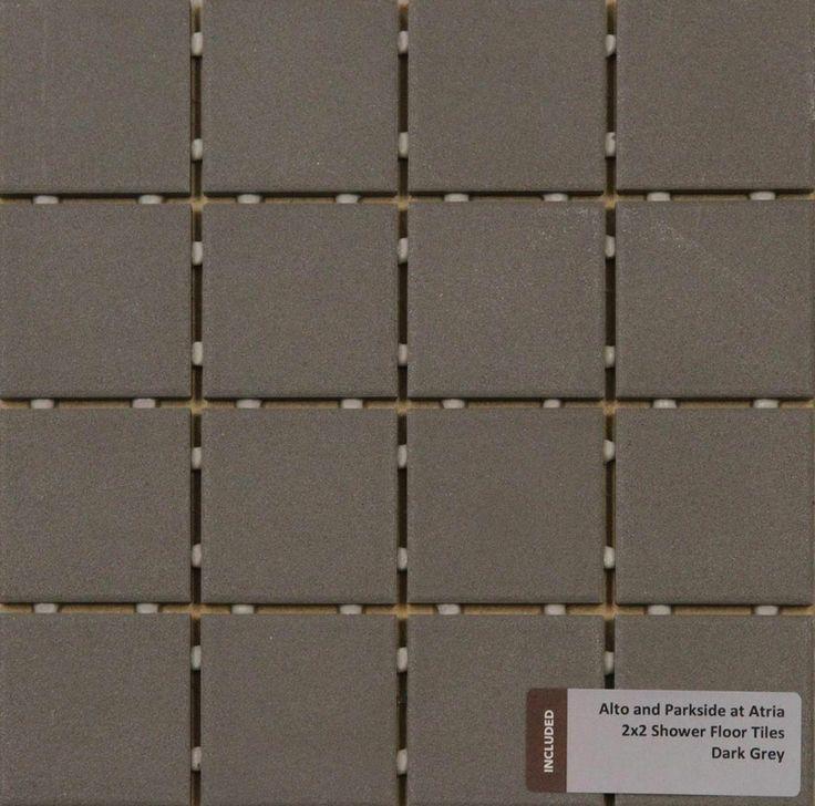 Included Shower Floor Tile - 2X2 Dark Grey
