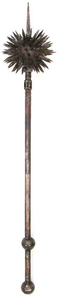 Indian gurz (round headed mace), 18th to 19th century, forged entirely of steel, the spherical head thickly set with quadrangular spikes and a long top-spike. The haft with faceted ferrule and bands of silver inlay decoration in vegetal motifs to the center and grip sections, overall length 77 cm.