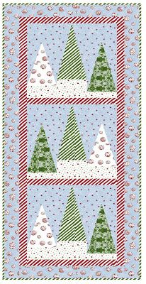"""Christmas Tree Farm, table runner/wall hanging 18 x 44"""", placemat 18 x 14"""", paper-pieced, free pattern by Jean Smith and Sue Pickering at Windham Fabrics"""