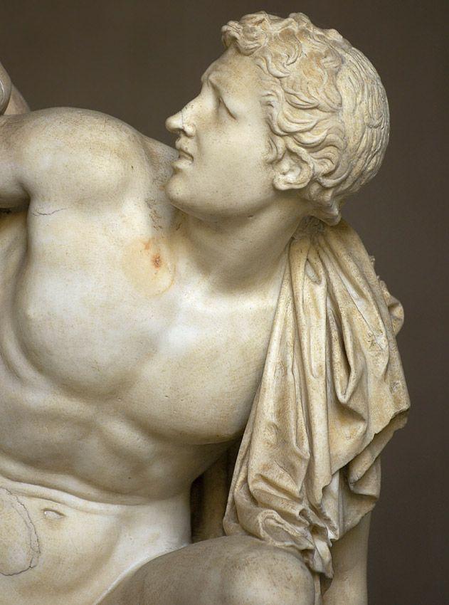 Laocoön and his sons - detail, Roman statues (marble) copy of Hellenistic original, 1st century AD (original 2nd–3rd c. BC), (Musei Vaticani, Vatican City).