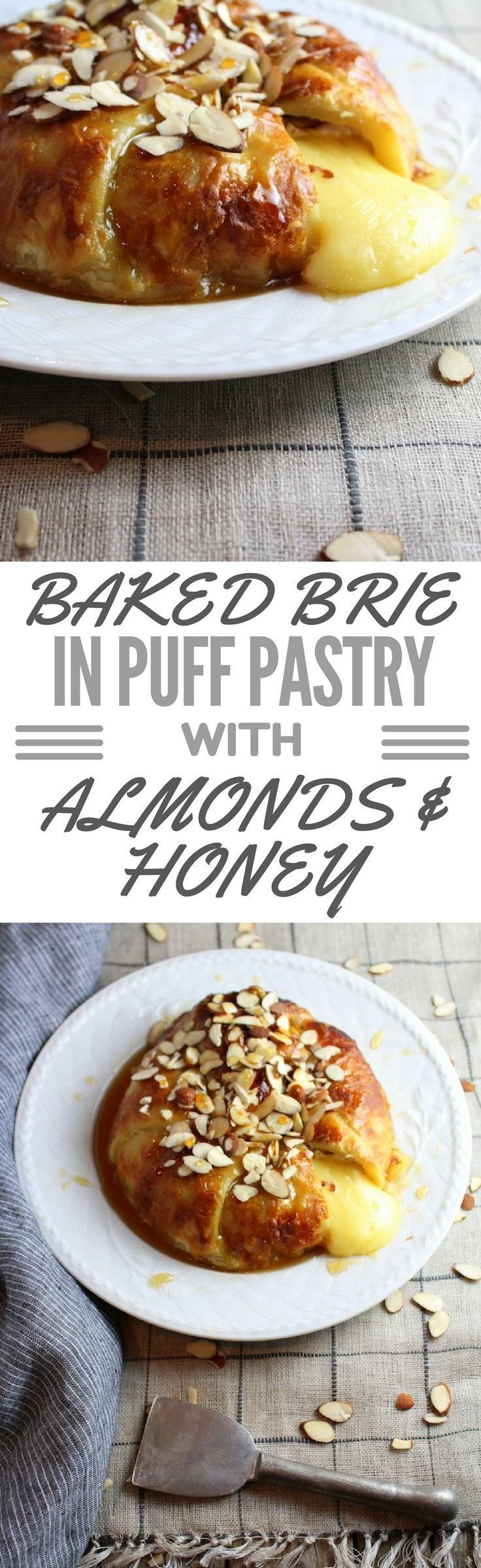 Easy christmas appetizer! Baked Brie in Puff Pastry with sliced Almonds and Honey drizzle.  http://tasteandsee.com