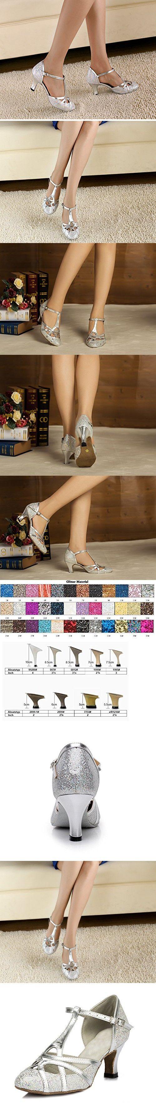 Minishion QJ6133 Women's Kitten Heel Silver Pleather Glitter Salsa Tango Ballroom Latin T-Strap Dance Shoes Wedding Pumps 7 M US