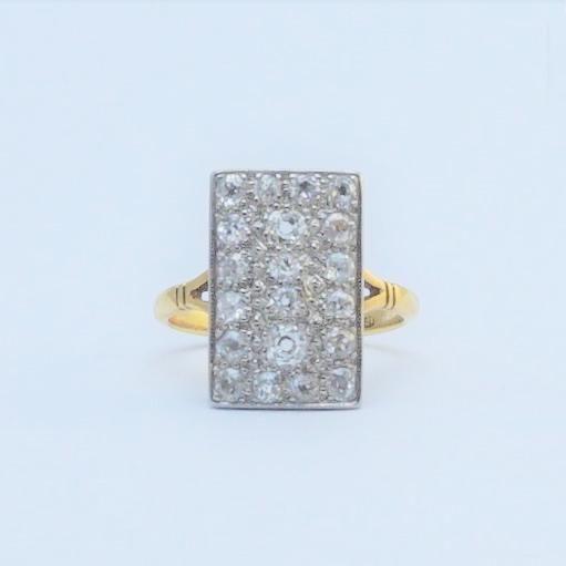 1930's Gold And Platinum Diamond Panel Ring