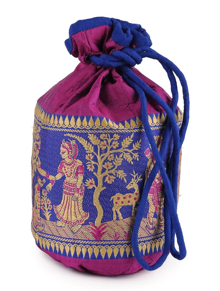 Buy Multi Color Handloom Silk Potli 10.5in x 7in Accessories Bags & Belts Silken Lore Baluchari Cushion Covers and More from Bengal Online at Jaypore.com