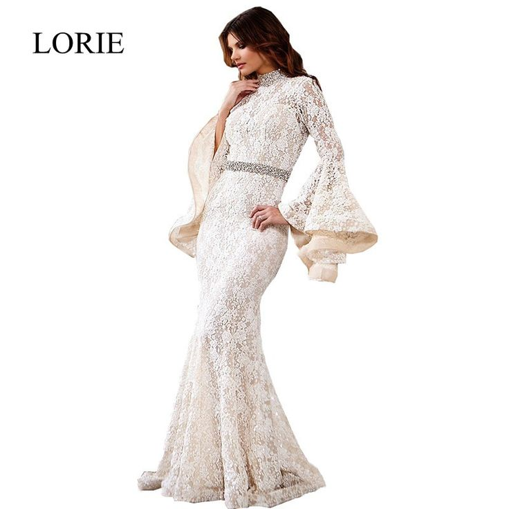 New Arrival White Lace Evening Dress 2017 High Neck Open Back Elegant Arabic Women Prom Dresses Long Sleeve Formal Party Gowns