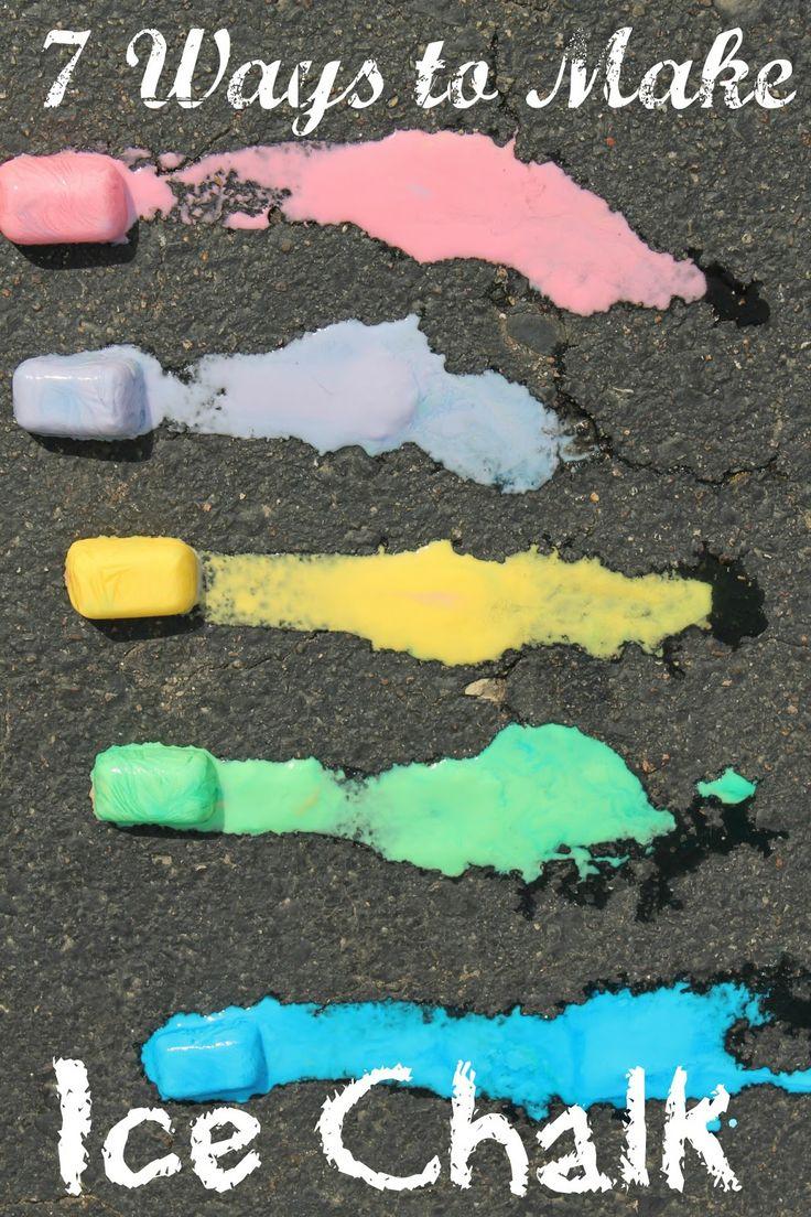 7 Ways to Make Ice Chalk - #preschool #summer #kidsactivities