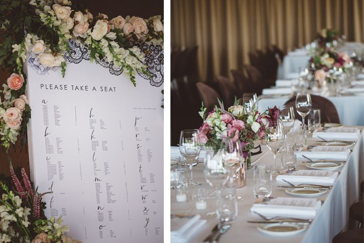 LETTUCE & CO - STYLE. EAT. PLAY 'jennifer + peter' - winery wedding'. tables cape. table styling. custom designed seating chart. modern vintage lace.    pastels, rose gold and grey adorned the Balgownie Estate Winery reception venue.