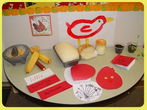 "Set up a Discovery Table with items from ""The Little Red Hen"". This version is by Paul Gauldone. Bake bread from a frozen loaf, grind corn in a matate, Plant winter rye seeds, write Key Words and illustrate a Shape Book."