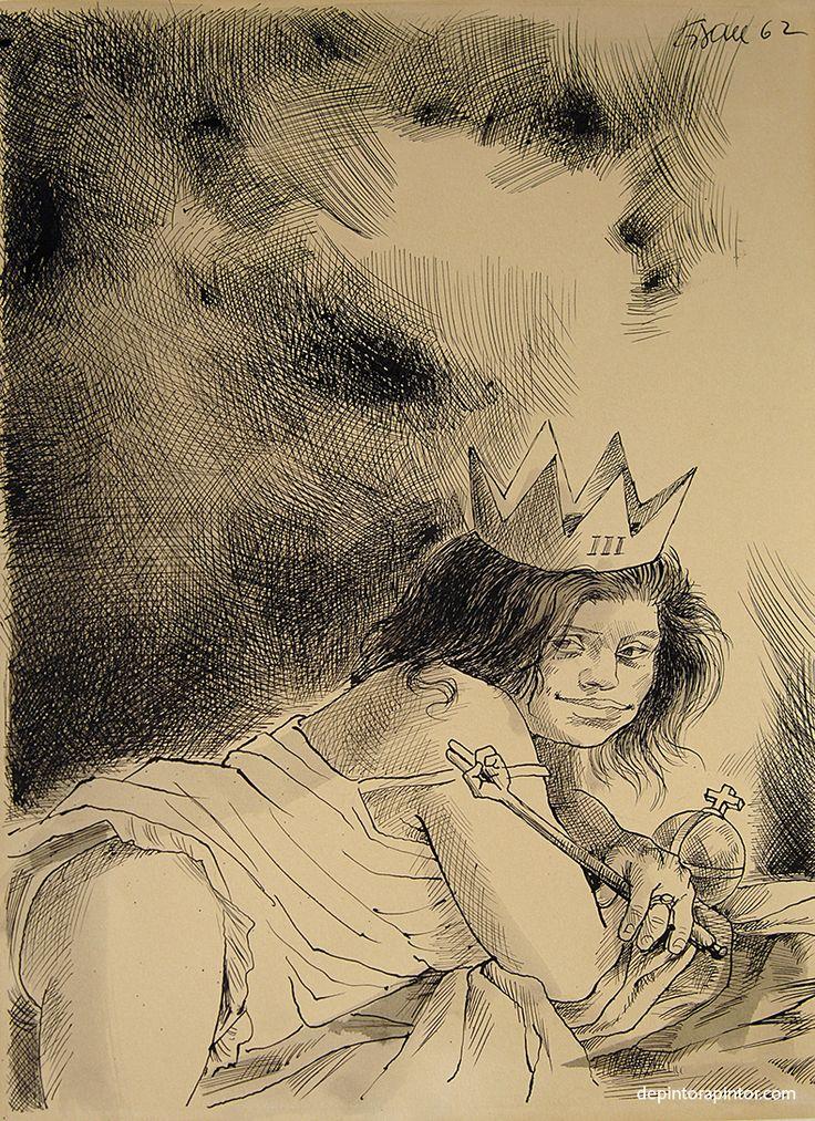 III la reina , Enrique Grau, tinta/papel