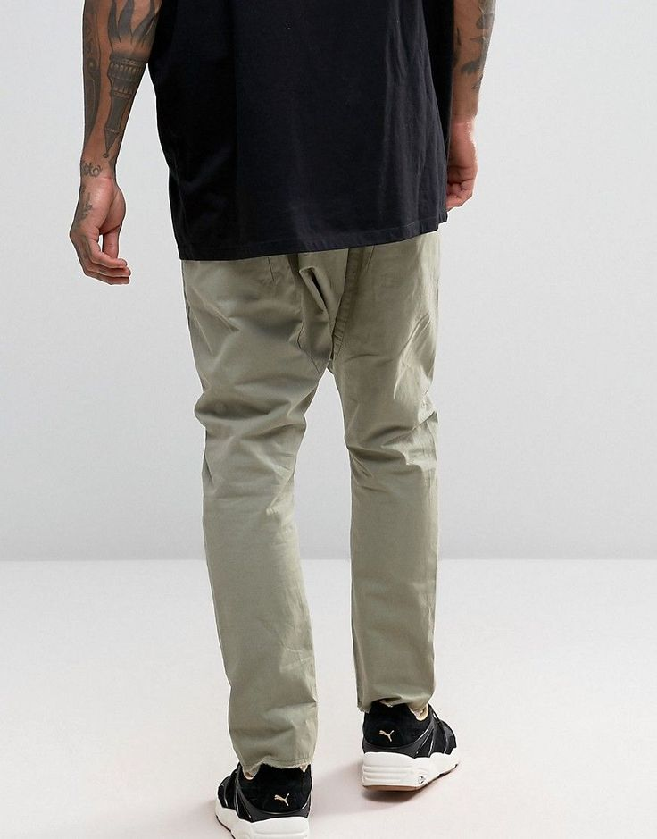 ASOS Drop Crotch Joggers With Elasticated Waist In Light Khaki - Green