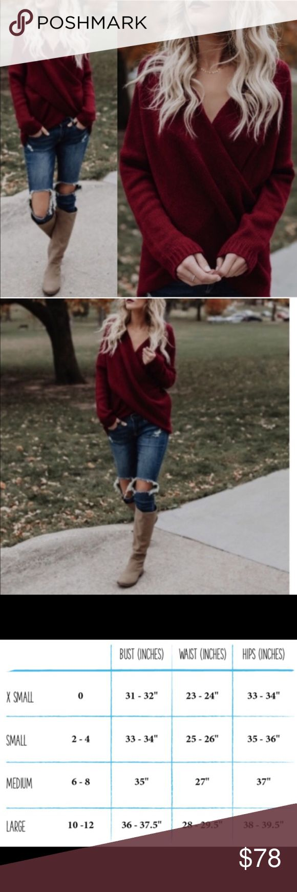 🆕 Wine Red Overlap Cross Front Sweater New with tags. Beautiful and cozy wine red sweater with an overlap cross front.                                                                ❌SORRY, NO TRADES. The O Boutique Sweaters V-Necks