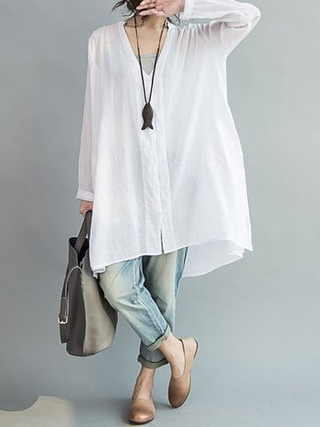 O-Newe Casual Women Loose White Cotton High Low Blouse - Newchic Mobile version.