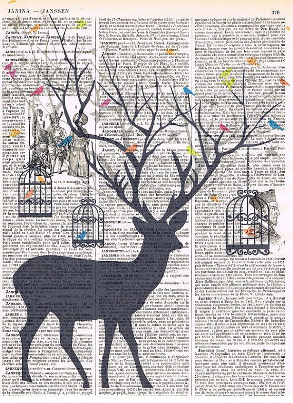 Deer Bird.birdcage.collage.Fantasy. Antique