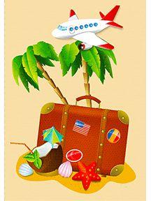 A imprimer, une carte postale de vacances avec une valise et un avion