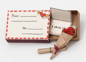 """Anniversary Love Card """"I love you"""" Matchbox / Gift box / Message box """"From - To"""" Envelope"""