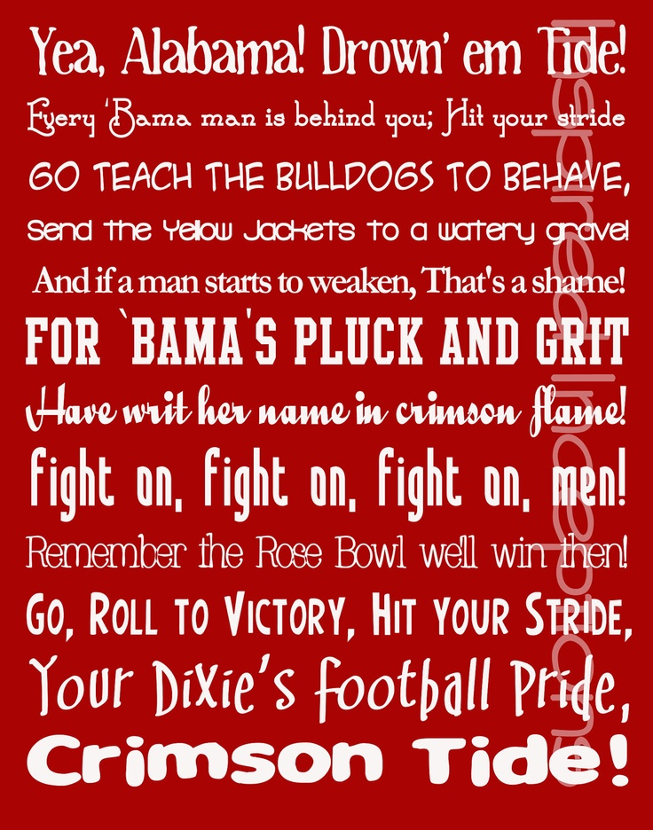 Roll Tide, Y'all!   Alabama Fight Song Subway Art Poster 11x14 by InspiredInceptions