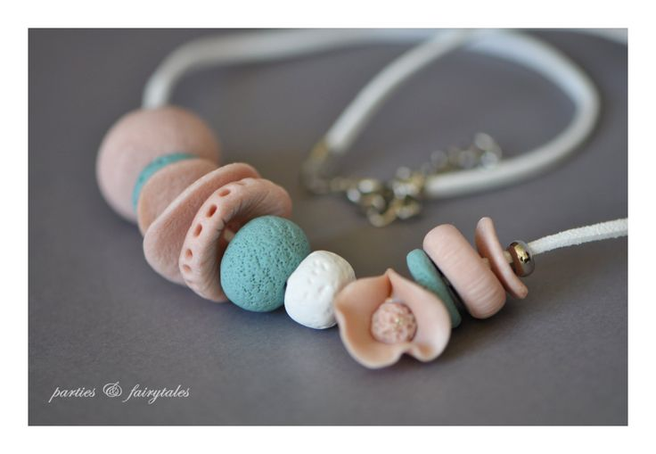 """handcrafted polymer clay """"beach chic"""" coral necklace by partiesandfairytales on Etsy"""