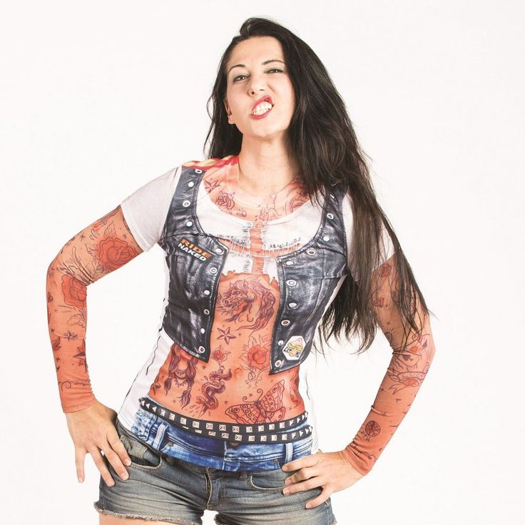 Faux real ladies tattoo with mesh sleeves t shirt easy for Mesh tattoo shirt