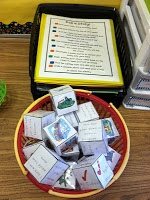 Roll A Story Writing Center - A wonderful FREEBIE from 2nd grade teacher Monica Schroeder   @ www.schroederpage.blogspot.com  **If you've ever thought about becoming Skype Buddies (tech talk for Penpals) w/another class, she's blogging about it! Using her smartboard, her students are buddies w/a second grade class in Indiana!  She makes it sound so FUN and EASY I bet you'll want to do it, too!