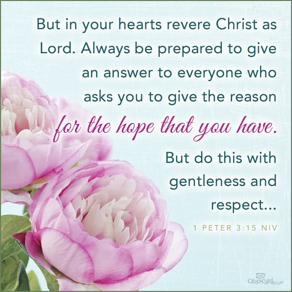 """""""But in your hearts set apart Christ as Lord. Always be prepared to give an answer to everyone who asks you to give the reason for the hope that you have. But do this with gentleness and respect"""" 1 Peter 3:15"""