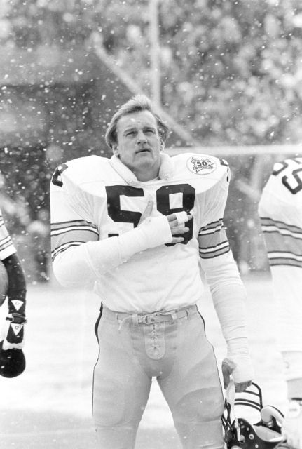 Great photo of Jack Lambert from the Steelers 50th season 9n 1982.  Now, that is football weather.