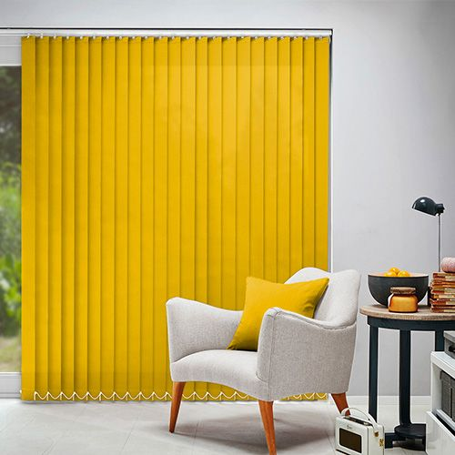 A Plain Vertical Blind Fabric In A Pale Shade Of Yellow. Available In An  Slat Width.