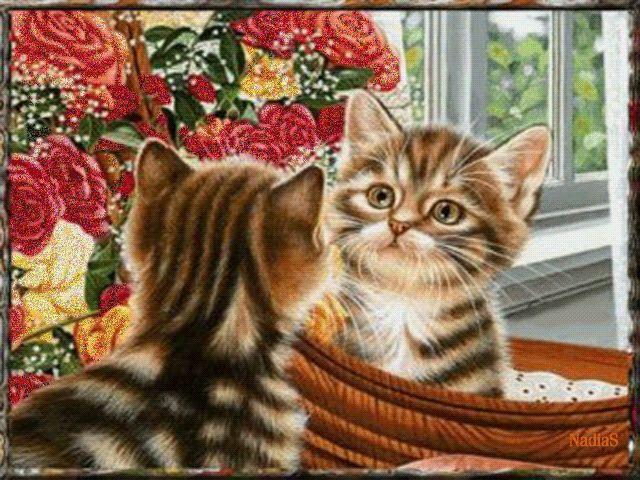 Открытка с кошками анимашки