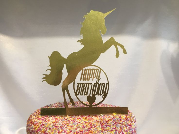 Unicorn Happy Birthday Gold Foil Card or Gold Glitter Card Cake Pick Topper Machine Cut by CraftworkGB on Etsy