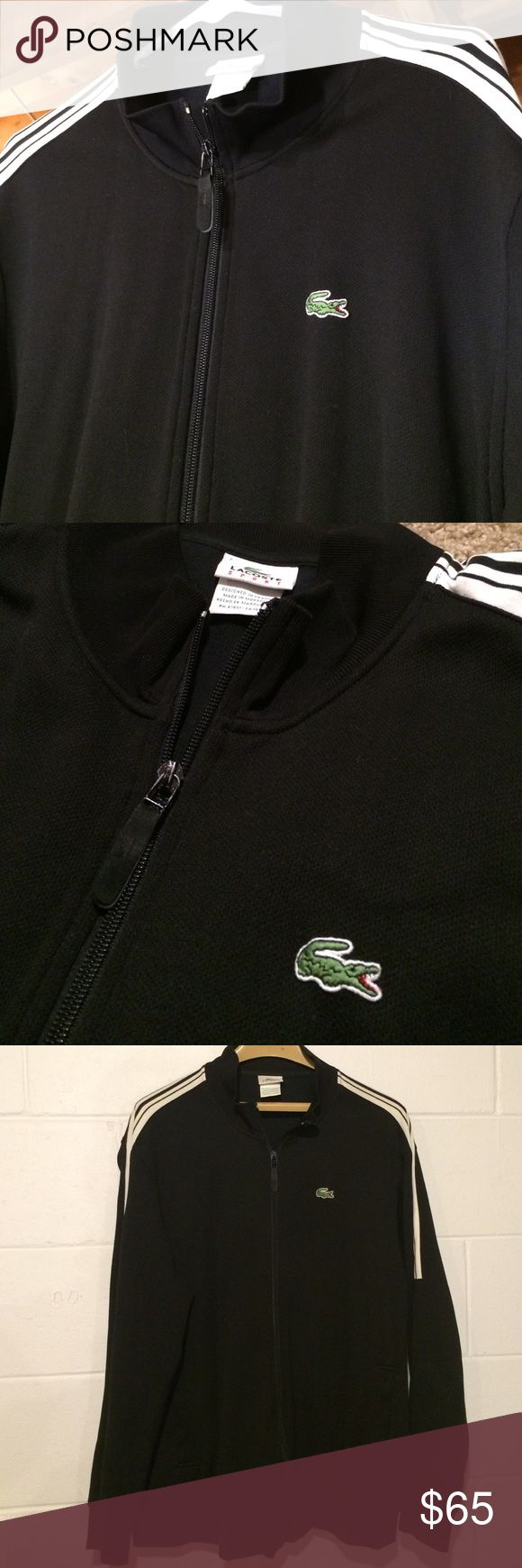 """Lacoste Sport Track Jacket! Very unique! In excellent, like new condition. This is a rare Lacoste jacket! Designed in France with 58% cotton, 42% polyester. This jacket goes great with anything! Beautiful black color with traditional green Lacoste logo stitched on chest. Tag says """"7"""" for size. The jacket fits like a Men's Large. Lacoste Jackets & Coats"""