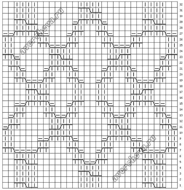 Узор 710 « коса 30 петель»| каталог вязаных спицами узоров