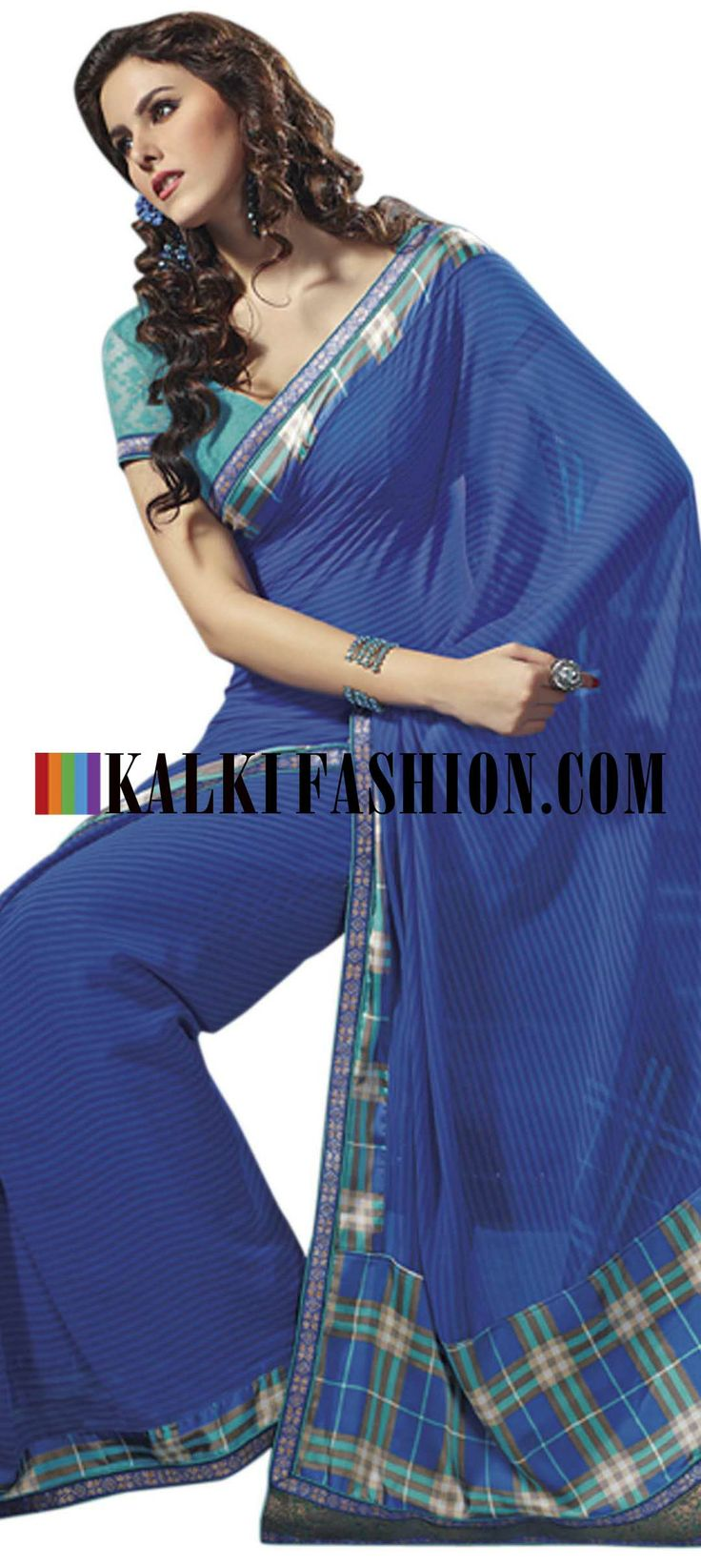 Buy Online from the link below. We ship worldwide (Free Shipping over US$100) http://www.kalkifashion.com/blue-printed-saree-with-banarasi-border.html Blue printed saree with banarasi border