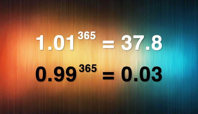 Вот так выглядит самый наглядный и эффективный мотиватор. Если принять усилия за единицу и возвести в степень 365 – количество дней одного года, то результат получается именно таким. Делайте чуть-чуть меньше, чем можете – и результат практически нулевой. Делайте немного больше, чем делаете обычно – и результат увеличивается многократно. С математикой не поспоришь. С жизнью тоже.