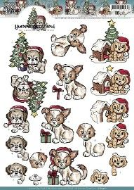 CD10561-3D Knipvel - Yvonne Creations - Christmas Puppies