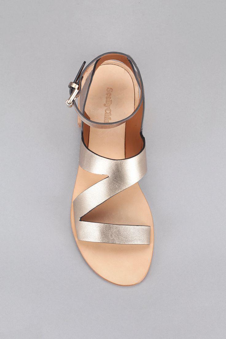 Sandales cuir dorées