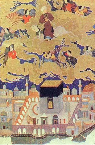 "Mohammed flying over Mecca, at the beginning of his ""Night Journey."" The square building in the center is the Ka'aba. From the manuscript entitled Khamseh, by Nezami, 1494-5. Currently in the British Museum."